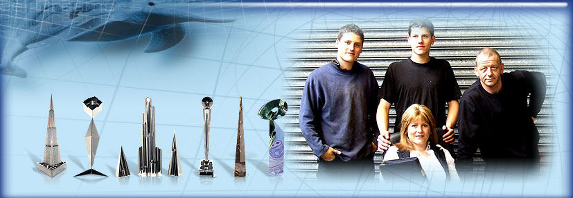 The Steel Dreams team (left to right; Carl, Kelvin, Roz and Michael Stott) and work examples image